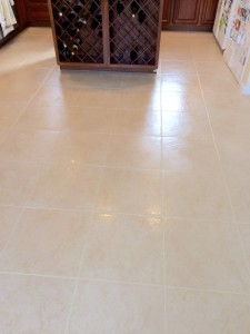 After tile cleaning and color grout sealing